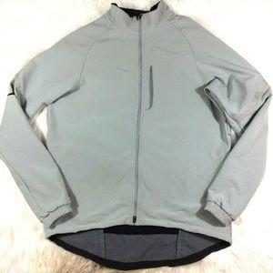 Nike Zip Front Jacket Coat Swoosh Logo Gray